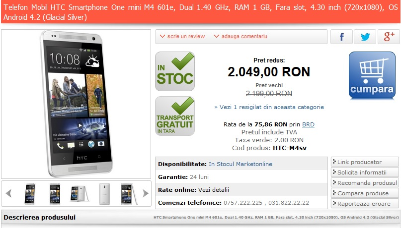 htc one mini pret marketonline.ro